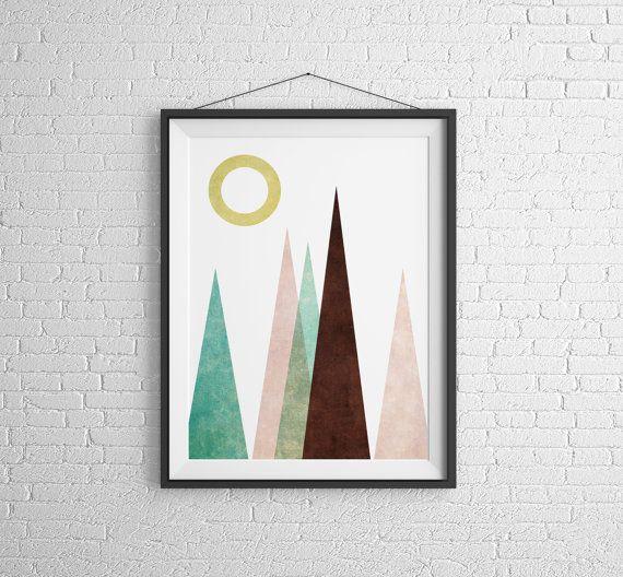 Berg Print Poster skandinavisch Modern Art Berg skandinavischen Kunst Wand Kunst Berg Poster