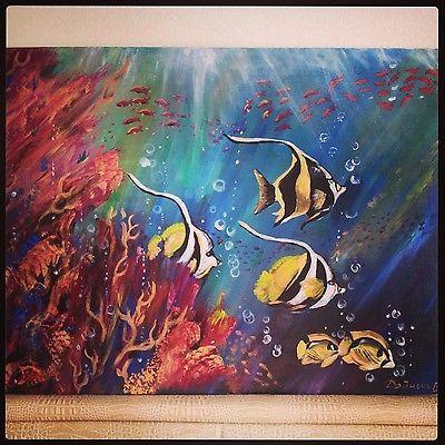 Sea fishes, acrylic on canvas, 60*80 cm, $250