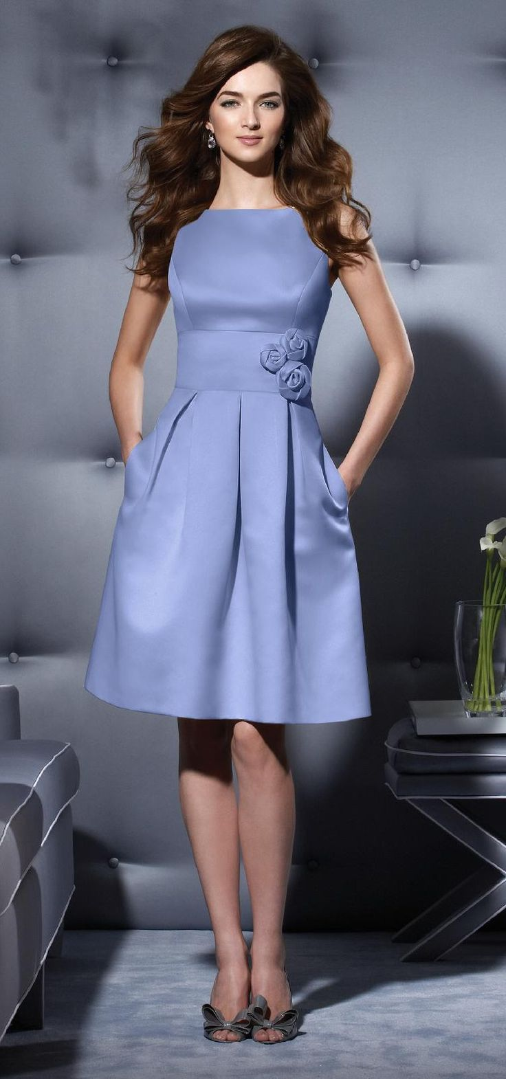 Best 25 periwinkle bridesmaid dresses ideas on pinterest bright dessy cocktail length duchess dress with bateau neckline and scoop back ombrellifo Images