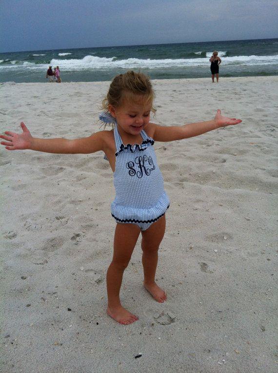 cb5982b9c11f9 Boutique one piece monogrammed seersucker swimsuit sizes 3-6 months, 6-9  months, 12-18 months, 2T, 3 | Kiddos | Toddler swimsuits, Toddler fashion,  ...