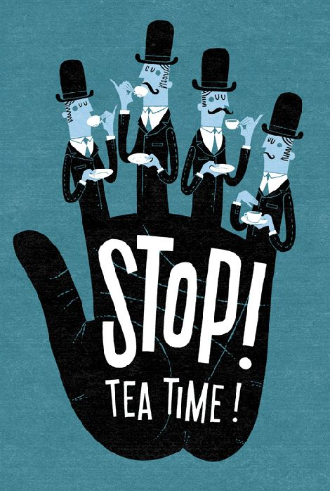 Esther+Aarts+stop+tea+time+poster+picture+retro+60s+blue+bowler+hats+drinking.jpg (470×698)