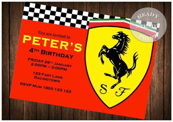 Ferrari Birthday Party Invitation -JPEG and PDF Digital Download