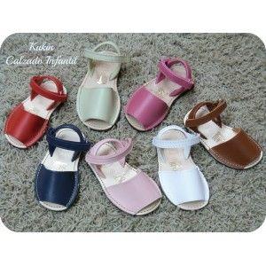 Menorquinas niña piel - calzado infantil - sandalias - ibicencas - abarcas