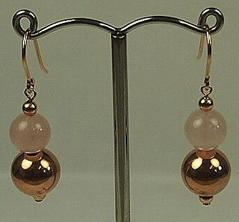 Jewellery-Earrings-Designer- Von Treskow- Rose Gold and Rose Quartz Drop Earrings
