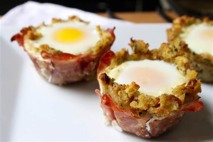 Cheesy Ham, Egg and Stuffing Breakfast Cups Recipe