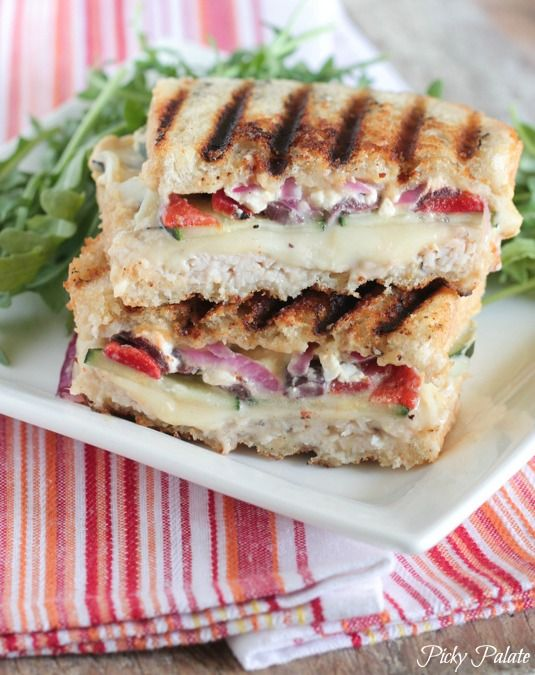 Loaded Turkey and Hummus Mediterranean Panini - Picky Palate