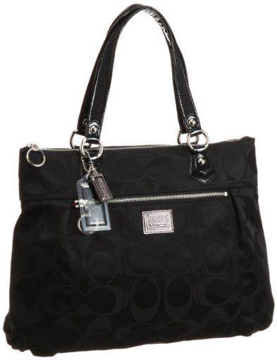 Coach Signature Poppy Glam Shopper Bag Purse Tote 18351 Black