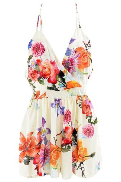 Floral Stylish Surplice Front Romper