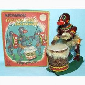 TPS Tin Calypso Joe African drummer lithographed tin windup toy With box