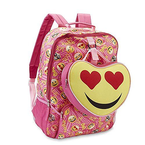 """Fun graphics and bright colors make these girl's backpack and lunch bag by Confetti a perfect match for her upbeat personality. Text graphics like """"OMG, LOL"""" and """"#selfie"""" decorate the canvas backpack along with fun emoji faces. Padded adjustable shoulder straps and back offer a comfy fit for your bookworm. The heart-shaped insulated lunch bag …"""
