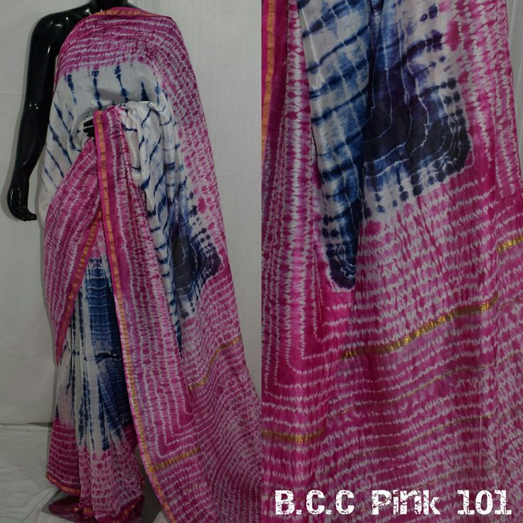 chanderi silk saree with handicraft shibori pattern  bagru cotton crafts wtpp nub 9782292922