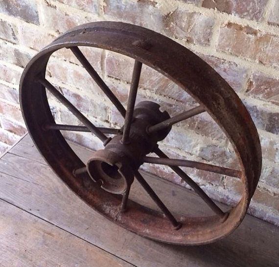 Old Metal Wheels With Tractor : Large vintage cast iron metal wagon wheel antique farm