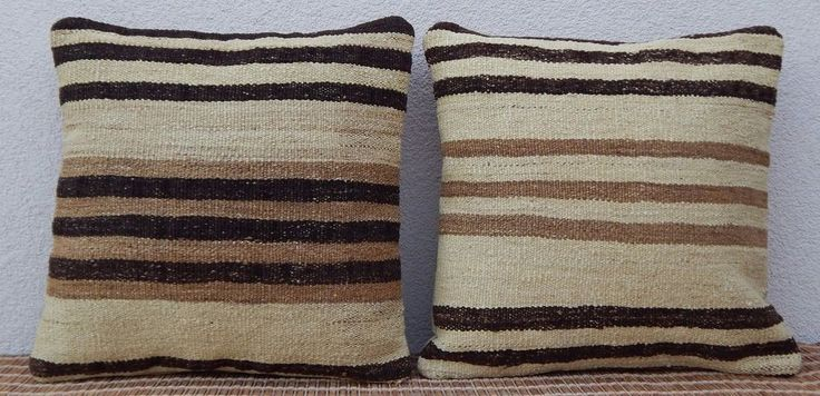 16x16'' Shabby Chic Natural Color Organic Cream Kilim Rug Throw Pillows,Set of 2 #Handmade