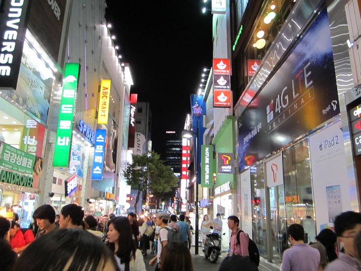 Myeongdong Shopping District at night, Seoul, South Korea