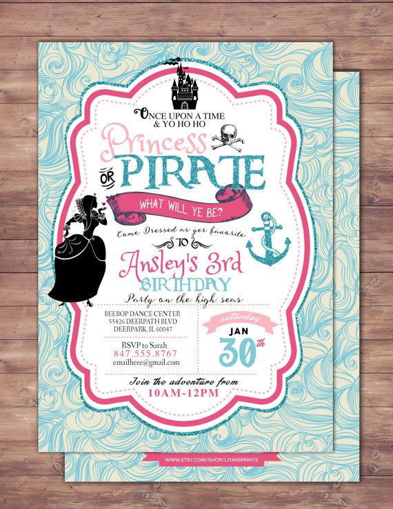Pirate and Princess Party Invitations Personalised. by LyonsPrints