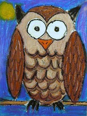 "Color or paint a large owl on a branch, and add white - glow-in-the dark paint to the eyes. Read ""Little Owl's Night"" by Divya Srinivasan, or other picture book stories about nocturnal creatures. The idea to be extended to additions of glow-in-the dark paint to raccoons, night moths, cats, or other animals that move about at night and can see in the dark. See instructions at this site."
