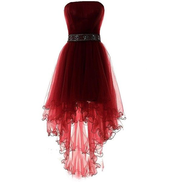 YiYaDawn Women's High-low Homecoming Dress Short Evening Gown (230 BRL) ❤ liked on Polyvore featuring dresses, gowns, red dress, short front long back dress, high low gown, hi lo dresses and red high low dress
