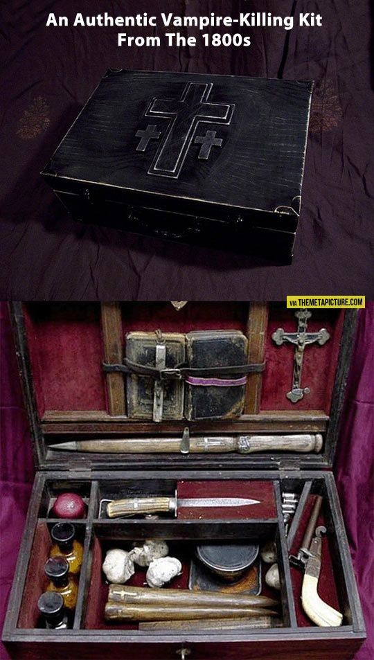 vampire slaying kit. This authentic vampire killing kit circa 1800s was sold at an auction for $14,850. This is a complete kit that comes fully equipped - stakes, mirrors, a gun with silver bullets (because where there are Vampires there might be Werewolves), crosses, a Bible, holy water, candles and garlic.