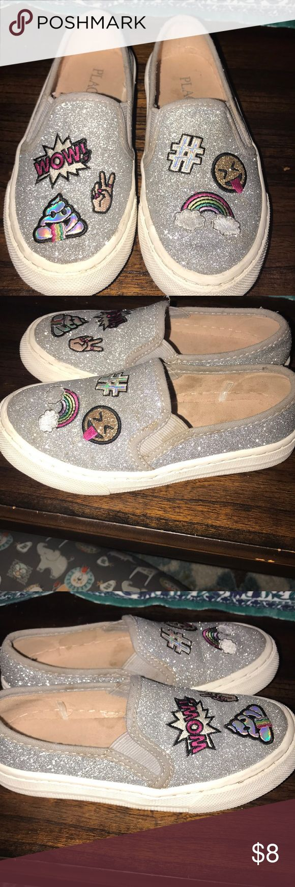 Sparkle Emoji slide sneakers Super cute sneakers. Some discoloration on the sides (pictured). Could possibly be cleaned with toothbrush and shoe cleaner. Children's Place Shoes Sneakers
