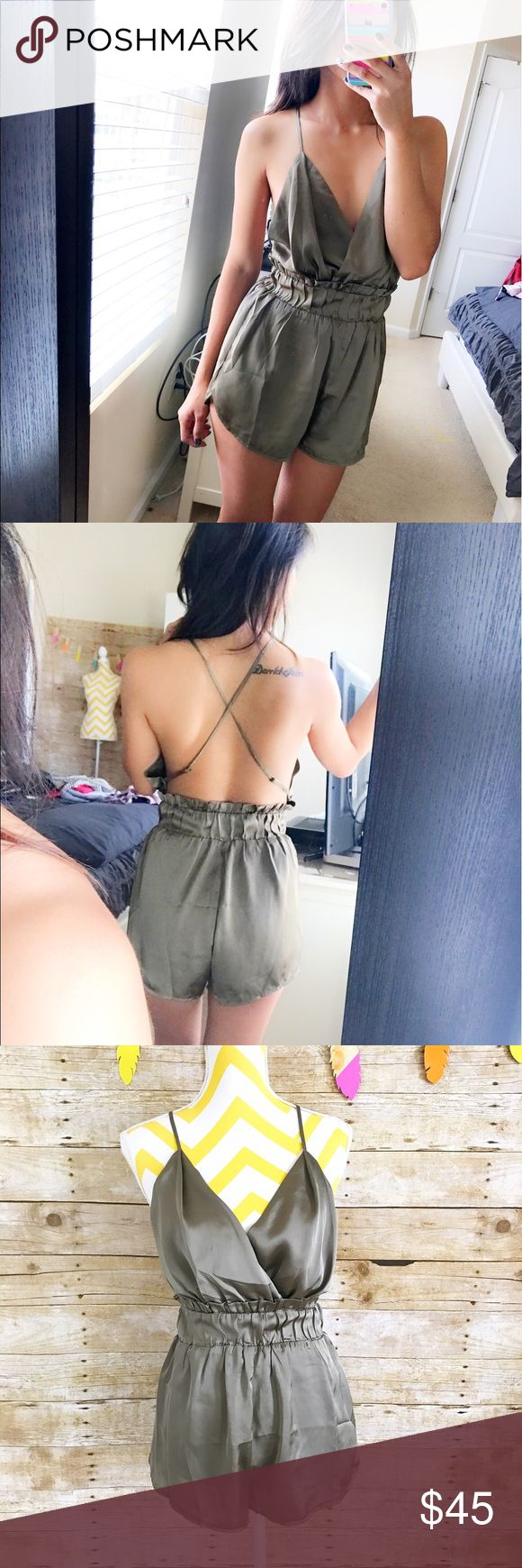 Olive green silky backless playsuit Nwot! Only worn to model. Garter cinched at the waist, adjustable straps. No pockets. Lined. Dresses Mini