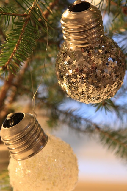 Make your own ornaments with glitter and flakes with modge podge.. love these