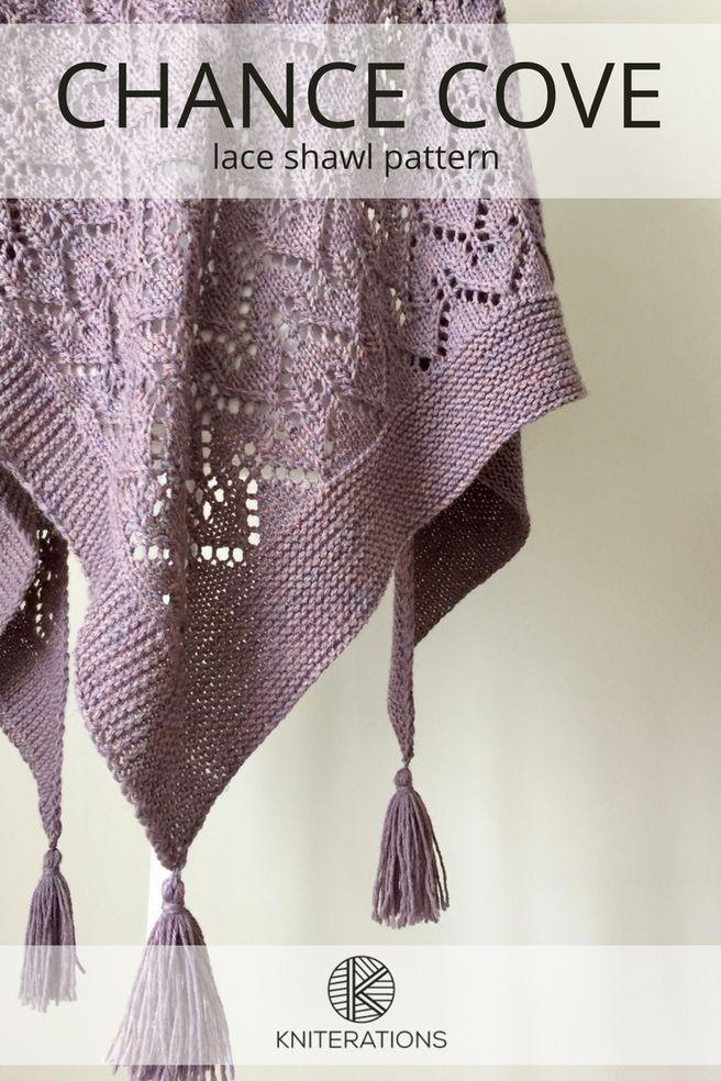 CHANCE COVE lace shawl knitting pattern by Allison O'Mahony @kniterations.ca