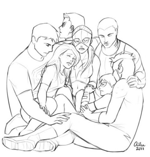 Young Justice: Superboy, Miss Martian, Artemis, Red Arrow, Aqualad, Kid Flash, Robin~Hurting~Group Hug