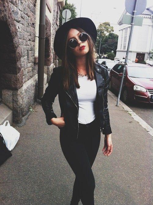 Gafas de sol redondas - Round sunglasses - Perfecto jacket - Black & White look - Grunge style                                                                                                                                                                                 Más