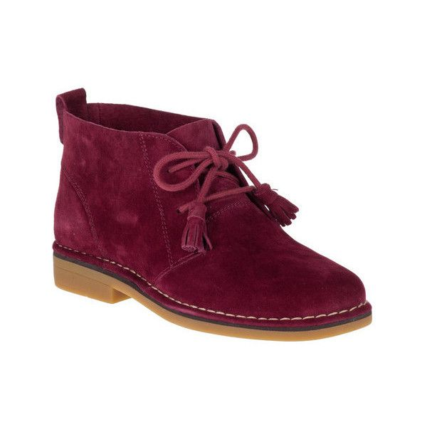 Women's Hush Puppies Cyra Catelyn Chukka ($99) ❤ liked on Polyvore  featuring shoes, boots, ankle booties, ankle boots, burgundy, lace up ankle  boots, ...