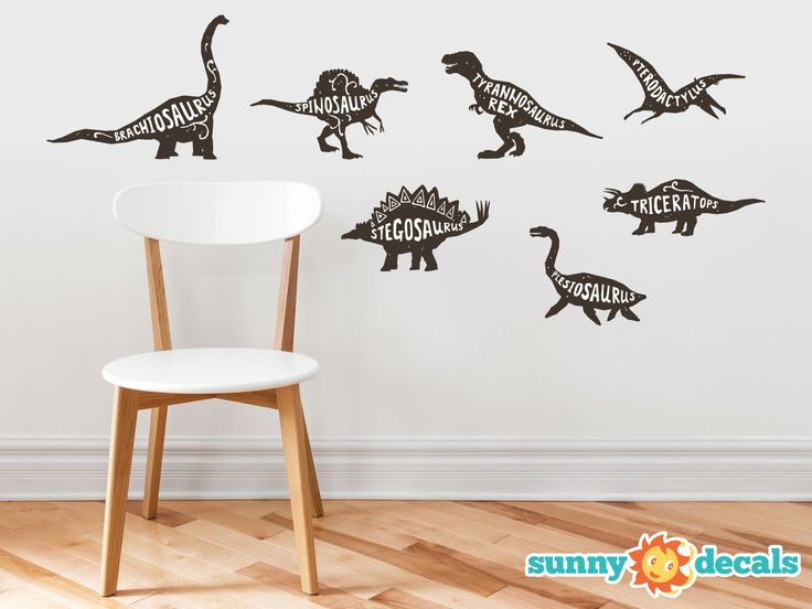 Dinosaur Fabric Wall Decals, Set of 7 with Species Names  Sunny Decals