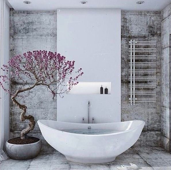 A very stylised bathroom. Stunning living sculpture (cherry tree) also adds a pop of colour - but only in spring of course!