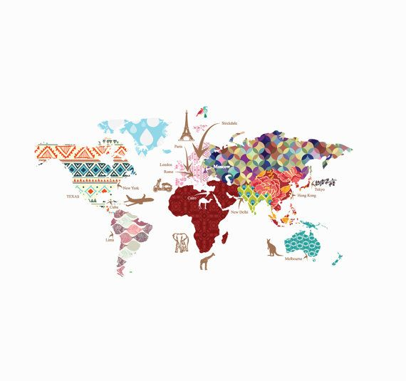 Desktop Wallpaper World Map: Cultural World Map Decal- Pattern Map Wall Decal