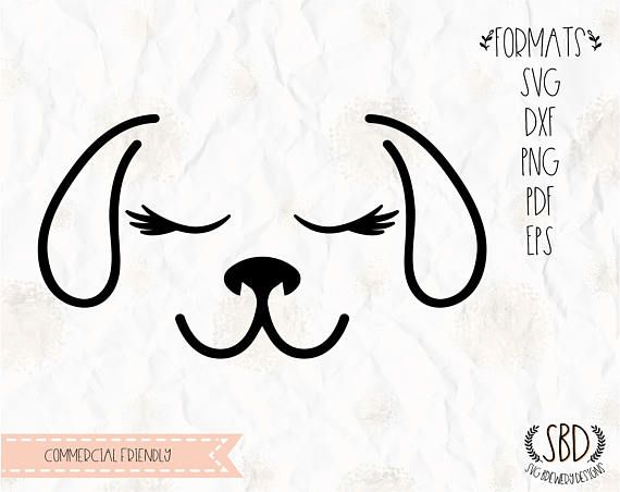 Dog Face With Lashes Eyelashes Svg Png Eps Dxf Pdf Etsy Face Stencils Face Template Stencil Template