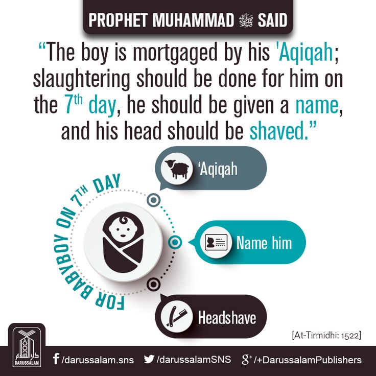 "Daily Hadith | Islamic Rituals for Newborn Boy  Narrated Samurah: That the Messenger of Allah ﷺ said: ""The boy is mortgaged by his 'Aqiqah; slaughtering should be done for him on the seventh day, he should be given a name, and his head should be shaved.""  [Jami At-Tirmidhi, Book on Sacrifices, Hadith: 1522] Chapter: About the 'Aqiqah. Grade: Sahih   #Hadith #MuslimBaby"