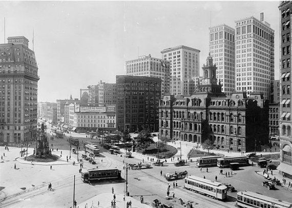 Old Detroit Photography 1900s Downtown Campus Martius