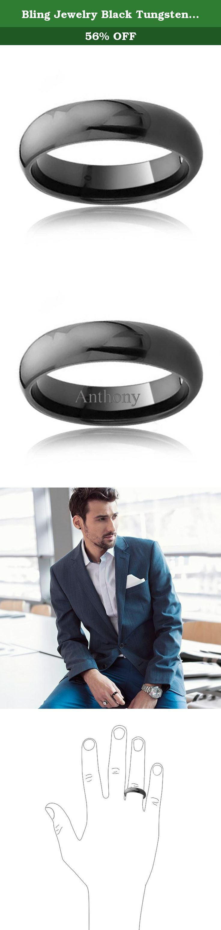 Bling Jewelry Black Tungsten Dome Wedding Band Ring 6mm. This edgy looking black tungsten domed wedding band is an excellent alternative to the more traditional choice of wedding ring. With a splendid high shine along with the strength of tungsten, this 6mm tungsten band will glimmer for years. These mens black rings are made from tungsten which is stronger than most metals and has a tarnish resistant quality. If you wish to show your eternal devotion to a loved one, these unisex black…