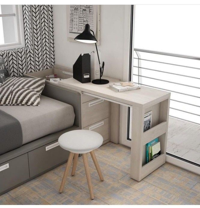 Desk That Pulls Out From An End Table With File Drawers Below Tiny House Furniture Home Home Office Design