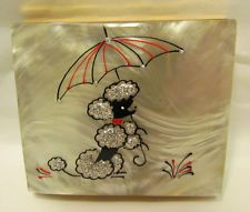VINTAGE 1950s POODLE COMPACT CASPARY CREATIONS MARBLED LUCITE MOTHER OF PEARL