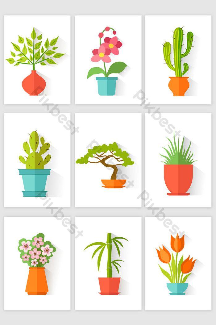 Flat Cartoon Flower Pot Flower Plant Vector Element Png Images Ai Free Download Pikbest Plant Vector Cartoon Flowers Flower Pots