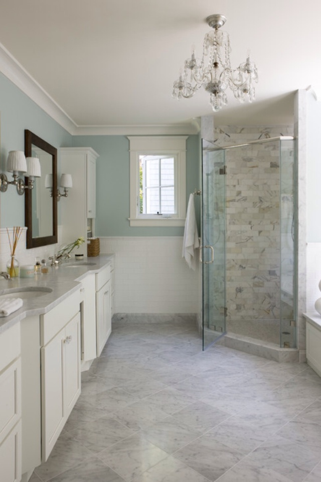 Hold up.  When you have two sinks in a marble worktop and stroll to your shower, you don't have a small bathroom.