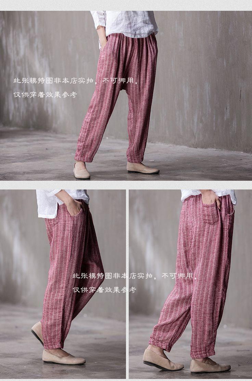2015 outono nova listrado Original do Vintage de cintura solta calças de algodão de linho Harem calças em Calças de Roupas e Acessórios no AliExpress.com | Alibaba Group