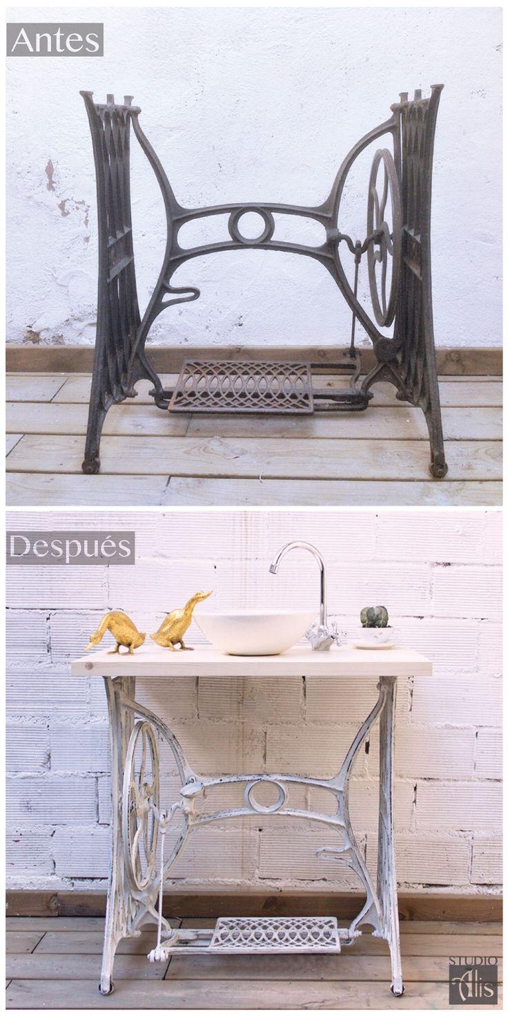 Antes y después. Un pie de máquina de cose convertido en mueble baño. Studio Alis - Barcelona