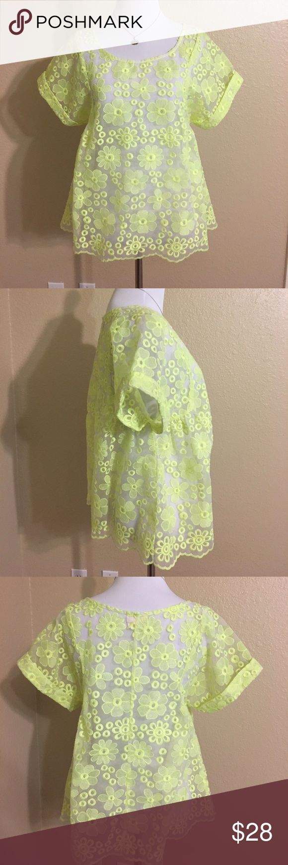 Anthropologie Meadow Rue sheer neon yellow top s Electric and eye catching!  Floral sheer top from Anthropologie by Meadow Rue.  Scalloped bottom hem, cuffed sleeves and a bit of a swing to the style.  Looks sweet layered with jeans and tank tops.   A real statement piece.  Bundle this with the other Meadow Rue Top for the best deal! Anthropologie Tops Blouses