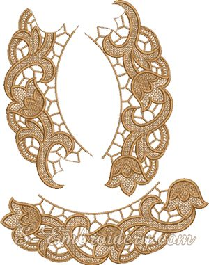 Floral free standing lace doily machine embroidery design parts