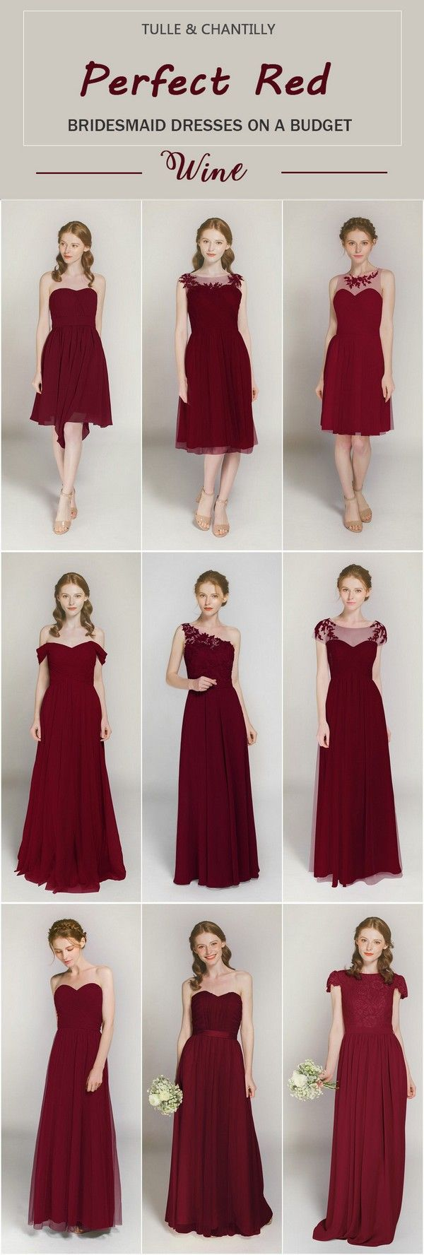 Wine Long Short Bridesmaid Dresses From 89 In Size 2 30 And 100 Color