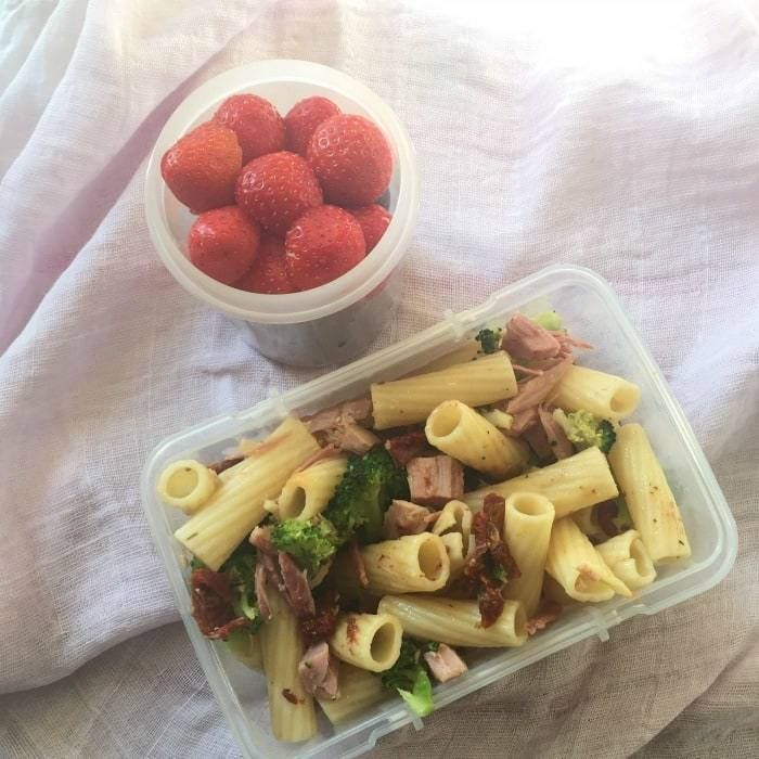 Packed lunch ideas - brocolli and ham pasta