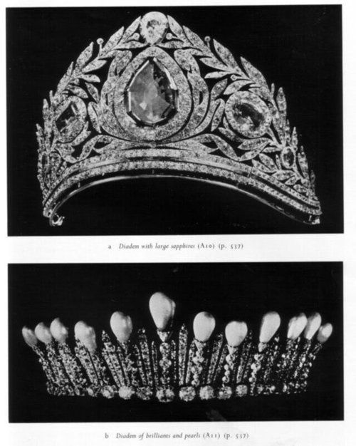 Romanov tiaras, large kokoshnik on top and tiny tiara with spike pearls on…