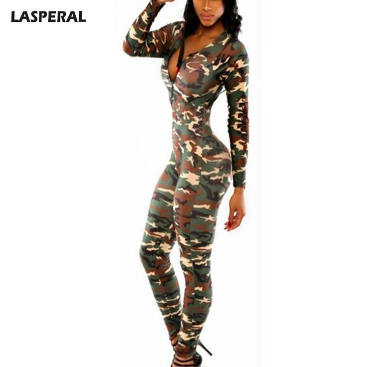 Brand Women Fitness Slim Camouflage Jumpsuit
