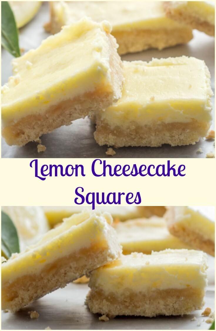 Lemon Cheesecake Squares, a delicious almond shortbread base & a creamy lemony filling. The perfect Cookie Bar or Dessert recipe.  via @https://it.pinterest.com/Italianinkitchn/