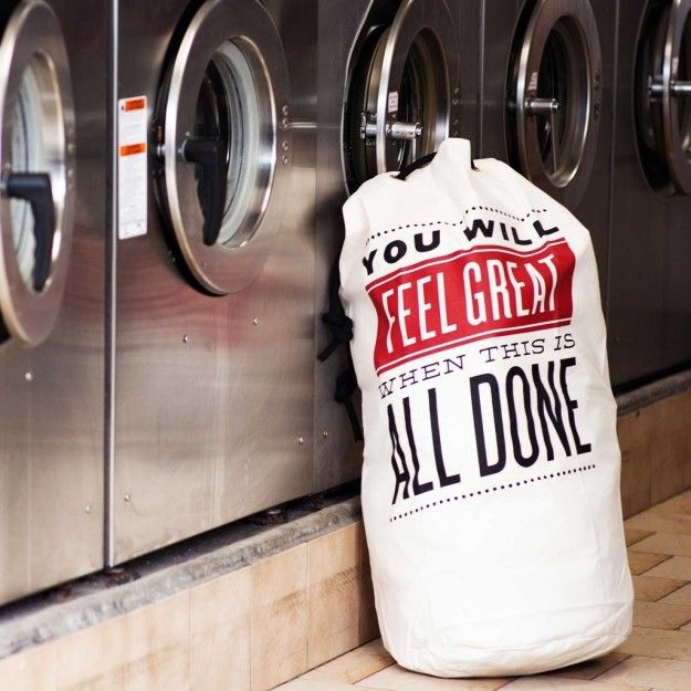 A laundry bag that knows how much better you'll feel when it's full of *clean* clothing.